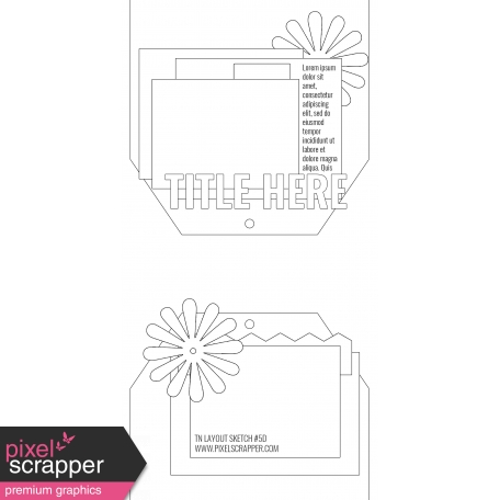 Travelers Notebook Layout Templates Kit #5 - layout template 5d sketch