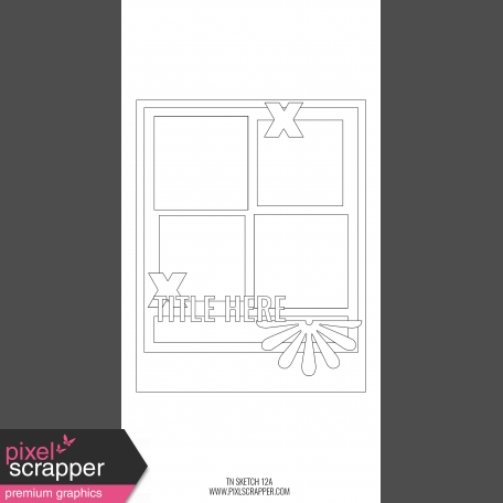 Travelers Notebook Layout Templates Kit #12 - Sketch Template 12A
