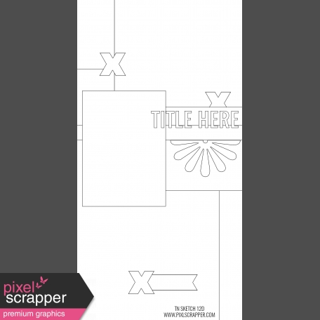 Travelers Notebook Layout Templates Kit #12 - Sketch Template 12D