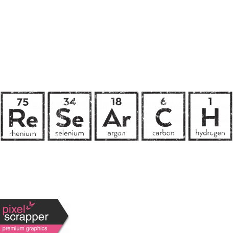 The Mad Scientist - Periodic System Words - Research - Stamp