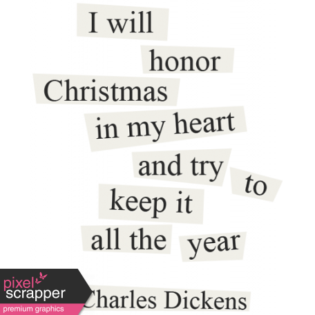 Christmas Day - Elements - Word Art Charles Dickens