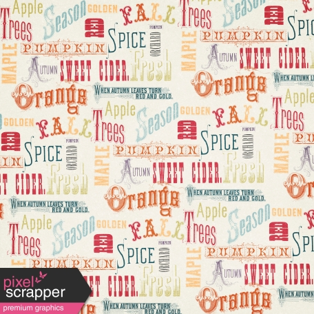 Pumpkin Spice - In the Orchard Autumn Words Paper
