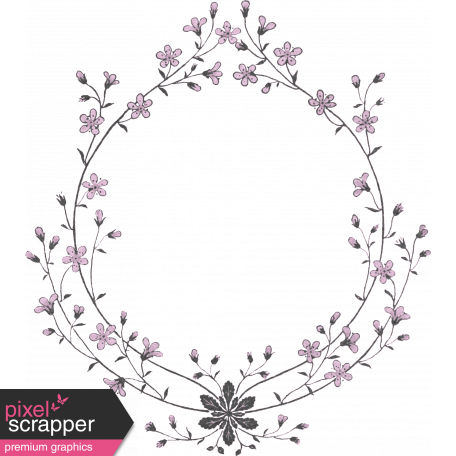 New Day Floral Wreath Purple and Black Frame