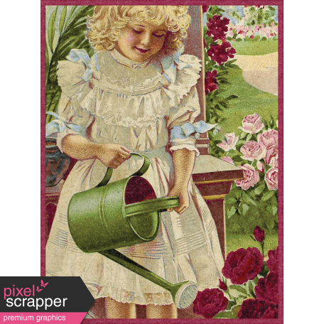 Delightful Days Journal Card - Girl Watering Flowers 3x4