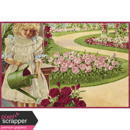 Delightful Days Journal Card - Girl Watering Flowers 4x6