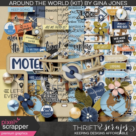 digital scrapbooking bundle full of elements dedicated to capturing global journeys