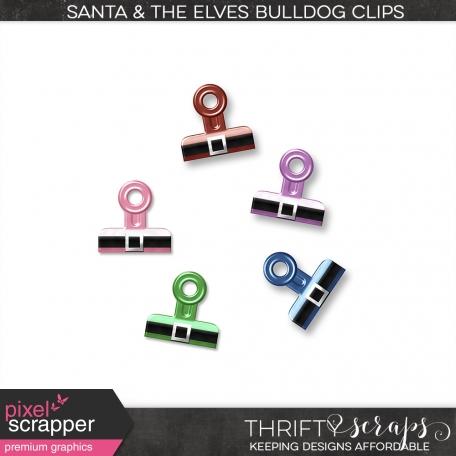 Santa & The Elves Bulldog Clips