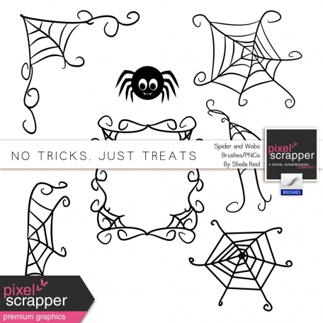 No Tricks, Just Treats Spider and Webs Brushes/PNG's Kit