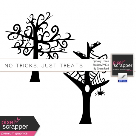 No Tricks, Just Treats Spooky Trees Brushes/PNG's Kit