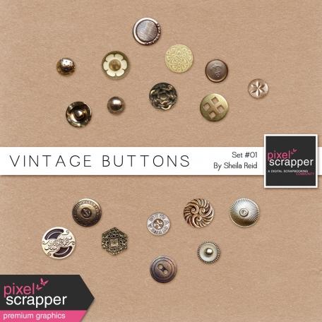 Vintage Buttons Kit Set #01