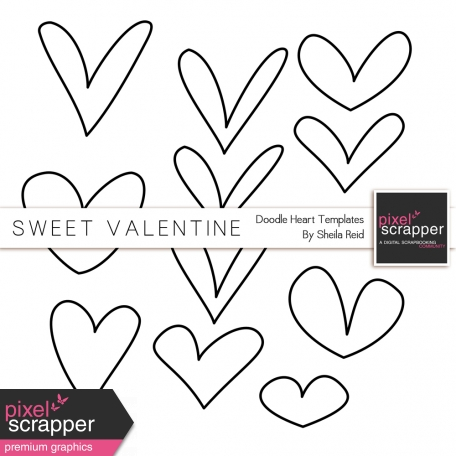 Sweet Valentine Doodle Heart Templates Kit