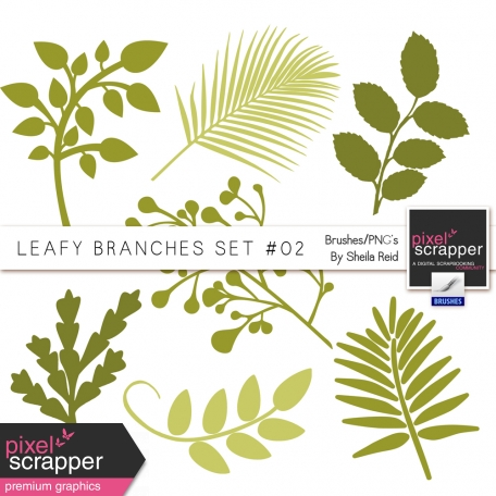 Leafy Branches Set #02 Brushes/PNG's Kit