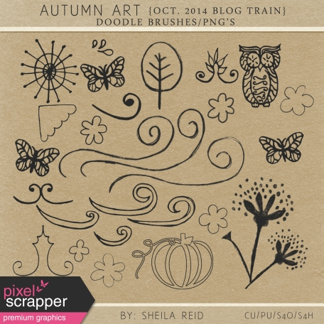 Autumn Art October 2014 Blog Train Doodle Brushes/PNG's Kit
