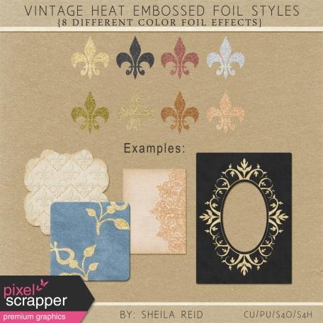 Vintage Heat Embossed Foil Styles
