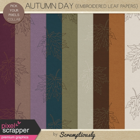 Autumn Day Embroidered Leaf Papers