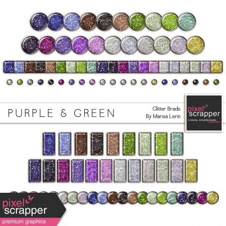 Purple & Green Glitter Brads Kit