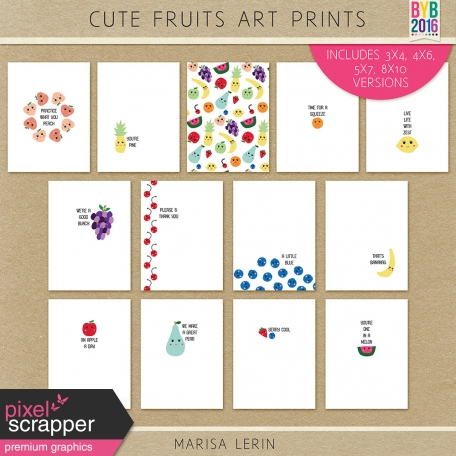 Cute Fruits Art Prints Kit