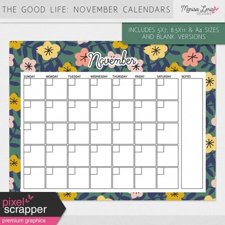 The Good Life: November Calendars Kit