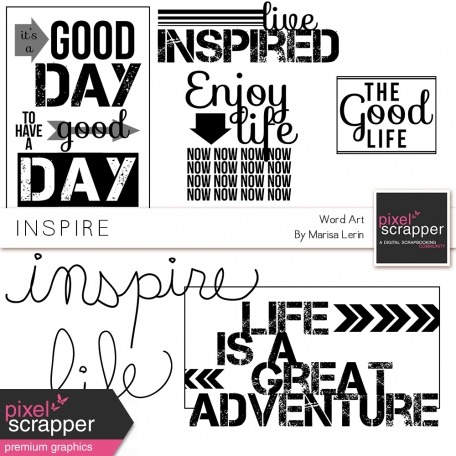 kit of varied word art for digital scrapbooking