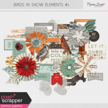Birds In Snow Elements Kit #2