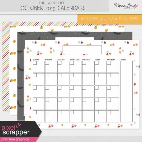 The Good Life: October 2019 Calendars Kit