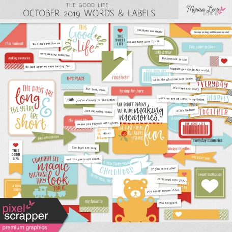 The Good Life: October 2019 Words & Labels Kit