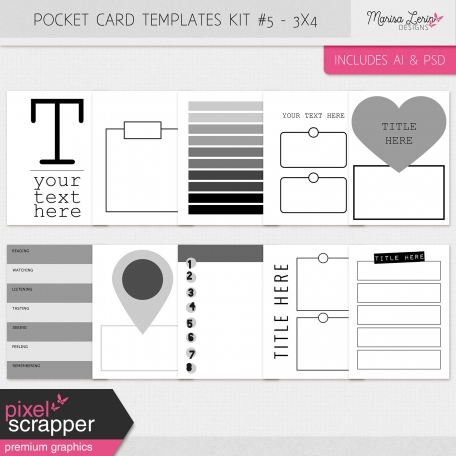 Pocket Card Templates Kit #5 - 3x4