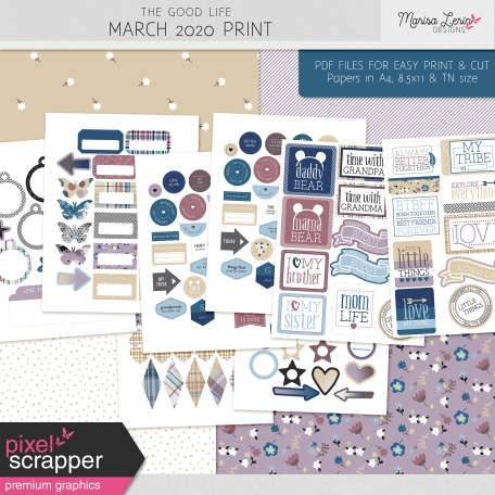 elements and papers for easy printing and cutting from the good life march 2020