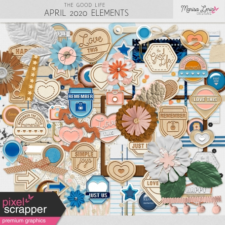many digital scrapbooking elements from the good life bundle