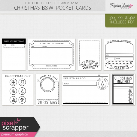 The Good Life: December 2020 Christmas B&W Pocket Cards Kit