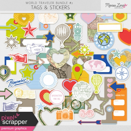 World Traveler #2 Tags & Stickers Kit