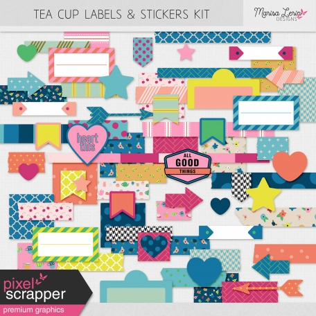 Tea Cup Labels & Stickers Kit