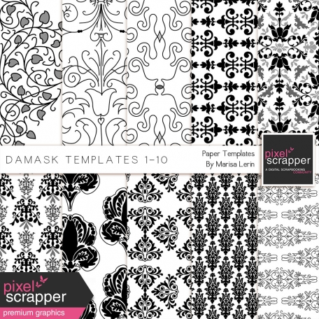 Damask Paper Templates 1-10 Kit