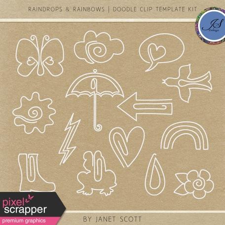 Raindrops & Rainbows - Clip Doodle Template Kit