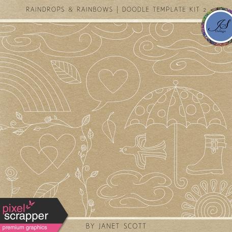 Raindrops & Rainbows - Doodle Template Kit 2