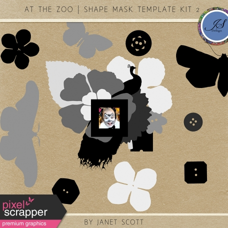 At The Zoo - Shape Mask Template Kit 2