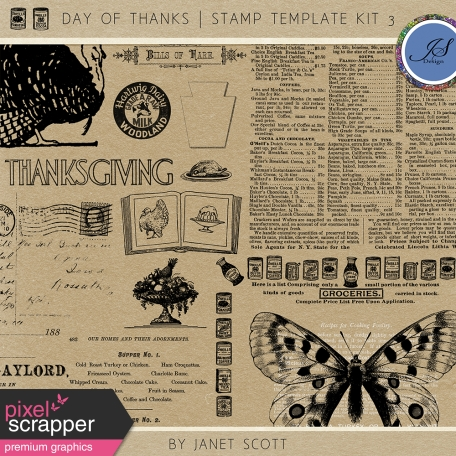 Day of Thanks - Stamp Template Kit 3