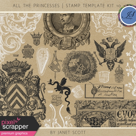 All the Princesses - Stamp Template Kit 10