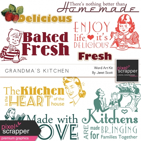 Grandma's Kitchen - Word Art Kit