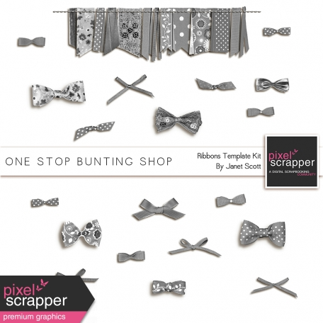 One Stop Bunting Shop - Ribbons and Bows Template Kit