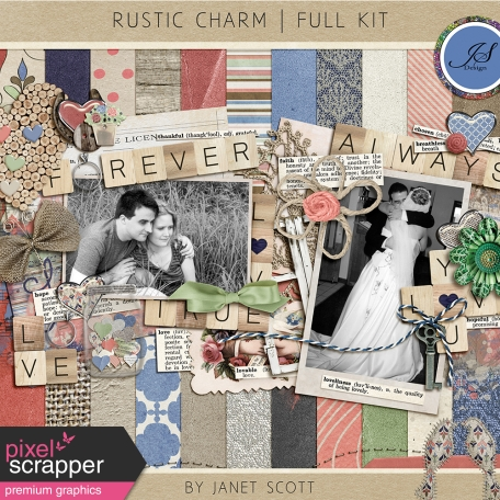 rustic word art and vintage family heirlooms and more in this kit