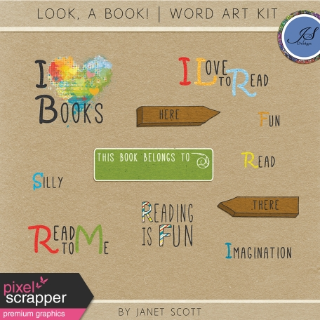 Look, a Book! - Word Art Kit