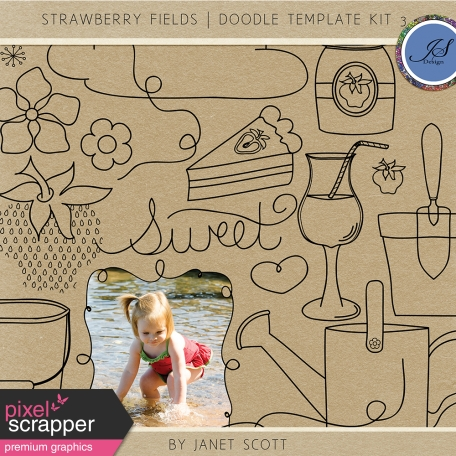 Strawberry Fields - Doodle Template Kit 3