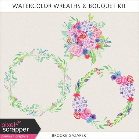 Watercolor Wreaths and Bouquet Kit