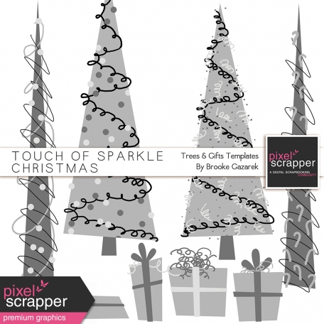 Touch of Sparkle Christmas Trees and Gifts Templates Kit