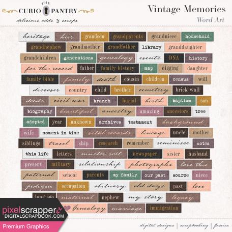Vintage Memories: Genealogy Word Art Snippets