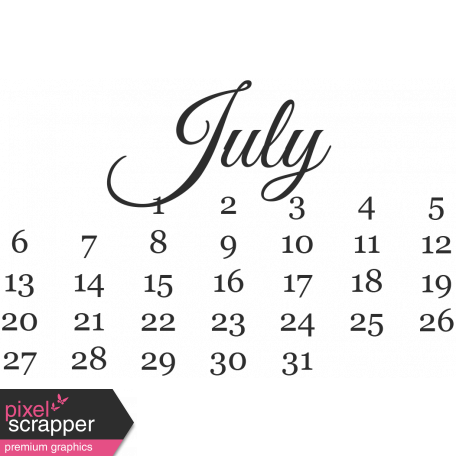Dates - July Mini Calendar