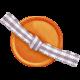 No Tricks, Just Treats-Orange Button With Ribbon