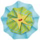 Lil Monster- Blue & Green Buttoned Accordian Paper Flower