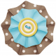 Lil Monster- Brown, Blue & Yellow Button Accordian Paper Flower